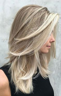 Brunette Balayage for Thick Hair - 50 Cute Long Layered Haircuts with Bangs 2019 - The Trending Hairstyle Medium Layered Haircuts, Medium Hair Cuts, Long Hair Cuts, Layered Cuts, Cute Medium Length Hairstyles, Style Medium Hair, Long Layer Hair, Hairstyles For Medium Hair, Medium Length Hair With Layers Straight