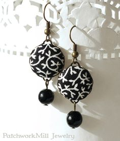 Black and White Dangle Earrings - Tendrils and Beads Romantic Black and White Fabric Covered Buttons Earrings with Czech Beads
