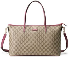 Gucci GG Supreme Canvas Medium Tote Bag, Beige/Pink