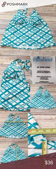 🏝Size 3X 22W-24W Catalina Plaid Swim Tankini Top Measurements are in photos. Normal wash wear, light discoloration on inside hems from well water, no other flaws E3/31  I do not comment to my buyers after purchases, due to their privacy. If you would like any reassurance after your purchase that I did receive your order, please feel free to comment on the listing and I will promptly respond. I ship everyday and I always package safely. Thanks! Catalina  Swim Bikinis