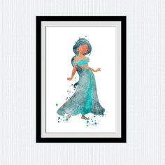 Jasmine watercolor poster Jasmine colorful print Disney princess poster Home decoration Kids room wall decor Nursery room art poster W411