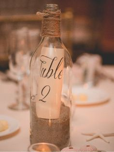 Message in a Bottle Table Numbers -Beach Wedding #BeachWeddingIdeas