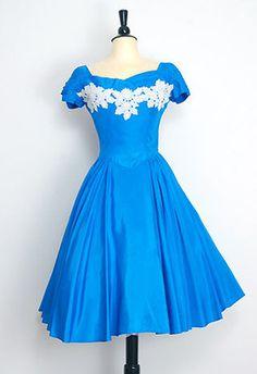 1940s Blue Silk Party Dress.