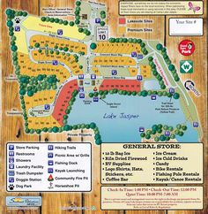 Park Map of Camp Lake Jasper RV Park in Hardeeville, SC. Camping Places, Camping Spots, Rv Camping, Rv Parks And Campgrounds, Camping Resort, Mobile Home Parks, Picnic Area, Camping Survival, Rv Travel