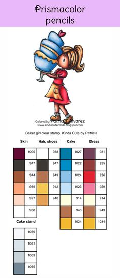 Prismacolor pencils color chart for baker girl clear stamp #kindacutebypatricia #prismacolorpencils