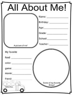All about me - great for first day of school!
