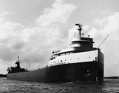 (MICHIGAN) Edmund Fitzgerald, freighter legendarily wrecked in Lake Superior and commemorated in a song that was a hit for Gordon Lightfoot. Edmund Fitzgerald, Gordon Lightfoot, Great Lakes Ships, The Fitz, Big Lake, Ghost Ship, Shipwreck, Lake Superior, Tall Ships