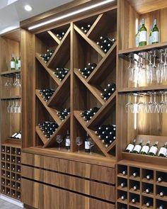 2019 Kitchen and Bath Industry Show in Las Vegas - Wine Wine Rack Wall, Wine Wall, Wood Wine Racks, Wine Shelves, Wine Storage, Built In Wine Rack, Home Wine Cellars, Modern Home Bar, Wine Cellar Design