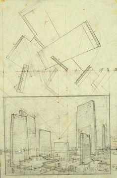hugh ferris architectural sketches, 1915-1961