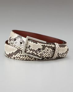 Glazed Python Belt, Black/White by W.Kleinberg at Bergdorf Goodman.