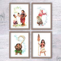 Disney princess watercolor print Set of 4 Disney by ColorfulPoster