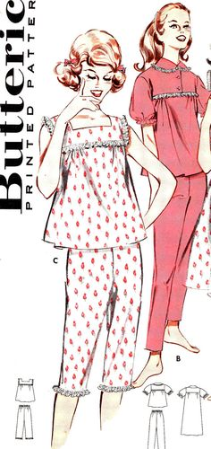 #Womens #babydoll nightgowns pajamas #lingerie #1950s #vintage