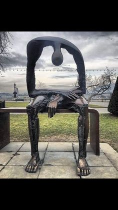 Melancolie by Albert Gÿorgy in Geneva, Switzerland. I didn't see this art in person while in Geneva, but wish I had! Fantasy Kunst, Fantasy Art, Street Art News, Photo Images, Outdoor Art, Land Art, Surreal Art, Public Art, Belle Photo