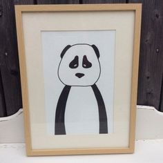 Kinderbild Panda Bär Zeichnung schwarz-weiß