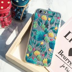 Soft Jelly Clear Design Phone Case - Green Leaves
