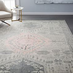 Distressed Medallion Rug, Platinum/Pink Blush, 8'x10'
