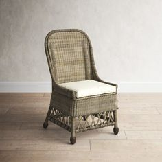 """All the details in this side chair will surely """"wow"""" all your guests. Thoughtfully designed with a curvilinear silhouette, sloped arms, and slightly angled back for ultimate comfort around the dinner table. A rattan frame is reinforced from top to bottom with woven rattan finishing with an """"X"""" detail in the apron making this a beautiful addition to any home. Rattan, Wicker, Dinner Table, Side Chairs, Grey Wash, Palmetto Bay, Apron, Armchair, Rustic Cottage"""