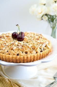 Delicious Meets Healthy   Almond Cherry Crumble Tart   http://www.deliciousmeetshealthy.com