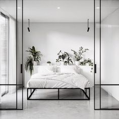 Tropical Scandinavian master bedroom, anyone? Such beautiful clean lines and lus… Tropical Scandinavian master bedroom, anyone? Such beautiful clean lines and lush plants! We can literally feel the fresh air through the photo 🌿☁️ 📷: Gold Bedroom Decor, White Bedroom, 70s Bedroom, Cozy Bedroom, Black Room Decor, Couple Bedroom, Woman Bedroom, Small Room Bedroom, Bedroom Vintage