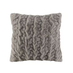 Madison+Park+Ruched+Faux+Fur+Euro+Throw+Pillow