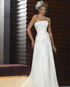 Empire Strapless Chapel train wedding dress for brides 2014 style