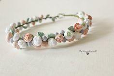 Gentle wedding flower crown Floral tiara Flower by CoolClayFlowers