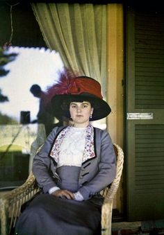Unidentified family friend (possibly Teresa Fabbri), ca. 1914  Autochrome by John Bond Trevor Sr