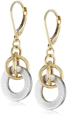 14k Gold Two-Tone Dangle Earrings