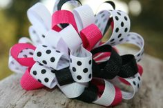 Pink, white, black and polka dot ribbon bow. This is an original, and so cute!  It measures 4 inches wide and approximately 3 inches tall. I...
