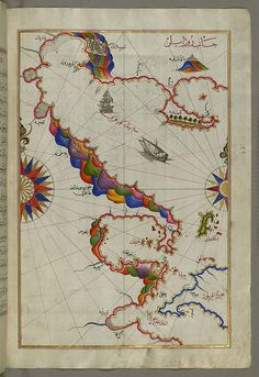 Illuminated Manuscript Map of the Bay of Salonica (Selānīk,Thessalonici) and the western coastline, from Book on Navigation, Walters Art Museum Ms. W.658, fol.52b by Walters Art Museum Illuminated Manuscripts
