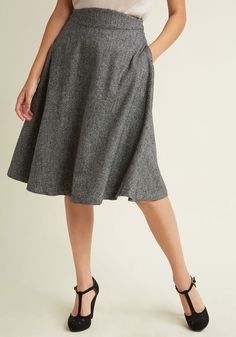 Prim Class Hero Midi Skirt in Charcoal in XXS - A-line Skirt Long by ModCloth - Plus Sizes Available