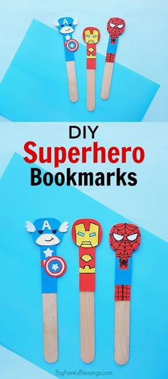 These adorable DIY Superhero Bookmarks should keep them busy for awhile. Maybe they'll even want to read a superhero themed book when finished making their Avenger bookmarks! Fun Crafts For Kids, Craft Activities For Kids, Craft Stick Crafts, Preschool Crafts, Diy For Kids, Bookmark Craft, Bookmarks, Avengers Crafts, Spiderman