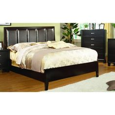 Furniture of America Rafael Contemporary Bedroom Set (Queen), Brown Contemporary Bedroom Sets, Contemporary Style, Modern, King Size Bed Frame, Leather Headboard, Upholstered Platform Bed, Panel Bed, Bed Sizes, Bedroom Furniture