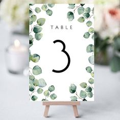 Greenery Table Number Eucalyptus Wedding Stationery Green