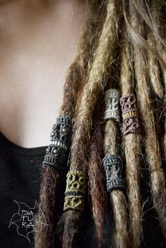Set of 4 macrame tribal dread decoration jewellery by DaturaNatura
