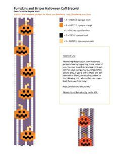 Halloween Pumpkins Peyote Stitch Cuff Bracelet Pattern   http://beadwork.about.com/od/beadedbracelets/ss/Halloween-Pumpkins-Peyote-Stitch-Cuff-Bracelet-Pattern.htm#