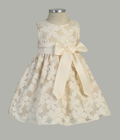 Flower Embroidered Lace Dress with Removable Sash - Infant & Toddler Flower Girl Dresses