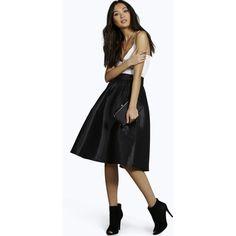 Boohoo Night Bahia Pleated Full Midi Skirt ($40) ❤ liked on Polyvore featuring skirts, black, pleated skirt, mid-calf skirt, evening skirts, black pleated skirt and midi skirt