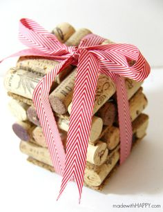 Easy Cork Coaster Gift - made with HAPPY