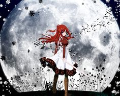 Anime picture 				1280x1024 with  		11 eyes 		kusakabe misuzu 		long hair 		single 		fringe 		purple eyes 		red hair 		looking away 		holding 		looking back 		wallpaper 		from behind 		hair between eyes 		payot 		full moon 		puffy sleeves 		girl 		dress 		weapon 		ribbon (ribbons)