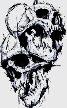 Skull Tattoo Design, Tattoo Design Drawings, Skull Tattoos, Tattoo Sketches, Leg Tattoos, Sleeve Tattoos, Sweet Drawings, Dark Art Drawings, Rose Drawing Tattoo