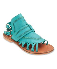 $39.99 Look at this #zulilyfind! Turquoise Tourist Leather Sandal #zulilyfinds