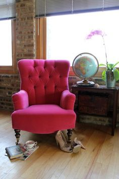 hot pink velvet for reupholstering the chair. It would be such lush and comfortable, plus a huge statement piece!