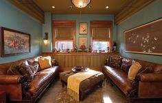 Like the feel of this room. The colors and the leather couches