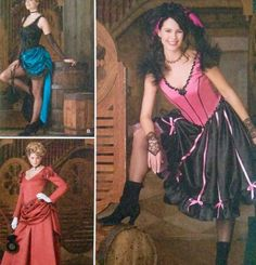 Sew your own Old West Saloon costume for theater productions or Halloween! Be a show or can can girl, burlesque dancer or saloon barmaid. Create a steampunk dress following instructions for Dress A. Great, versatile uncut pattern with designs by Andrea Schewe.