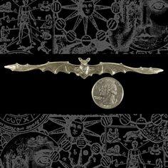 Long  Silver Plated Brass Bat Pendant or Bracelet  S:P39. $1.99, via Etsy.