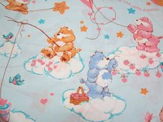 Care Bears  Vintage Flat Sheet by MaxxSillyVintage on Etsy, $10.00