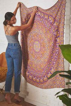 Shop Magical Thinking Prayota Medallion Tapestry at Urban Outfitters today. Magical Thinking, Creative Walls, Mandala Tapestry, 1960s Fashion, Tapestry Wall Hanging, Beautiful Space, Design Trends, Duvet Covers, Urban Outfitters