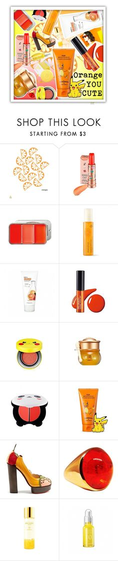 """Orange you cute! =^•^="" by beanpod ❤ liked on Polyvore featuring Holika Holika, Skinfood, SkinCare, TONYMOLY and Charlotte Olympia"