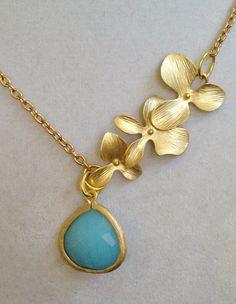 Bridal Gold Leaf and Blue Crystal Necklace by joytoyou41 on Etsy, $35.00